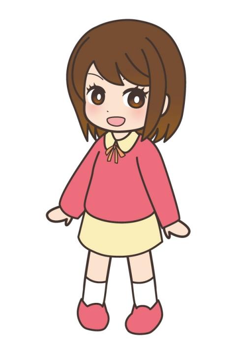 小学生の女の子がピンクの服を着ているイラスト 無料イラストのimt