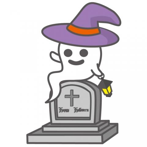 西洋風のお墓の上に腰をかけたお化けのイラスト 無料イラストのimt
