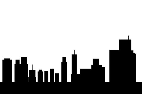 ビルが並ぶ街のシルエットイラスト , 無料イラストのIMT 商用OK