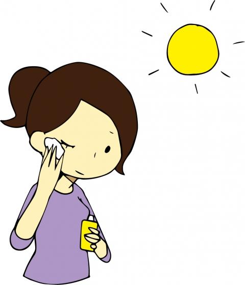 日焼け止めを塗っているときの女性のイラスト 無料イラストのimt 商用