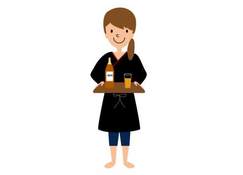 居酒屋で働く女性のイラスト 無料イラストのimt 商用ok加工ok