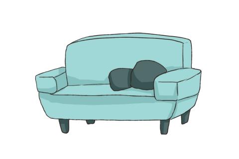 青磁色のソファのイラスト