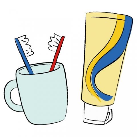 歯磨き粉と歯ブラシコップのイラスト 無料イラストのimt 商用ok加工ok