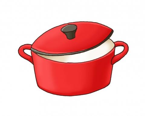 赤い鍋の蓋があいているイラスト 無料イラストのimt 商用ok加工ok
