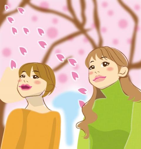 お花見に来ている女性のイラスト 無料イラストのimt 商用ok加工ok
