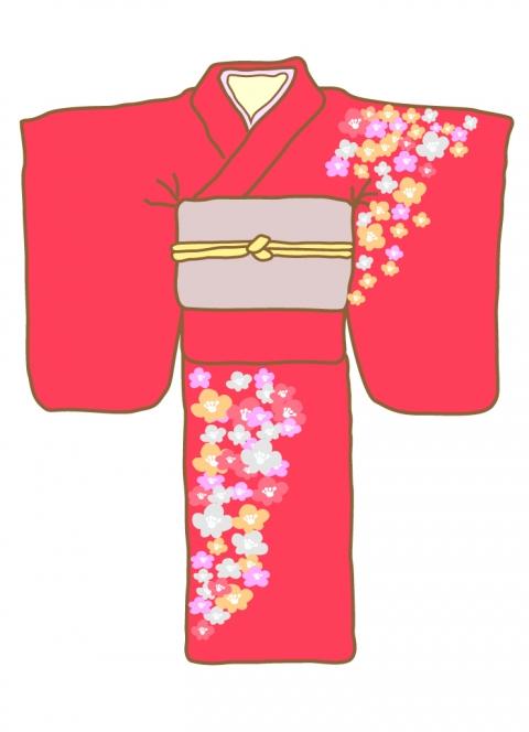 着物の模様が花柄のイラスト 無料イラストのimt 商用ok加工ok
