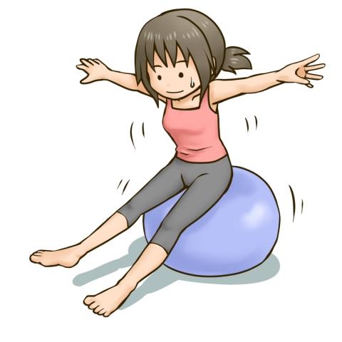 バランスボールに乗る女性のイラスト 無料イラストのimt 商用ok加工ok