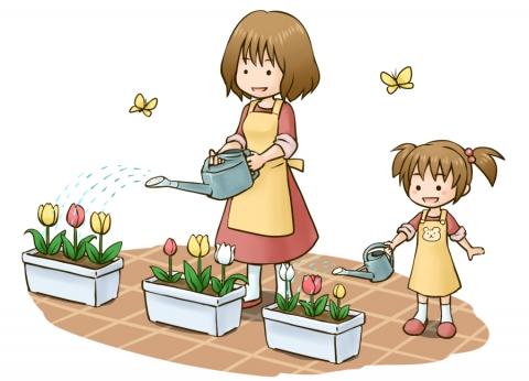 花に水をあげる女性のイラスト 無料イラストのimt 商用ok加工ok