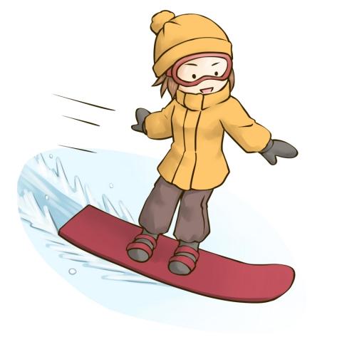 スノーボードを楽しんでいる女性のイラスト 無料イラストのimt 商用ok