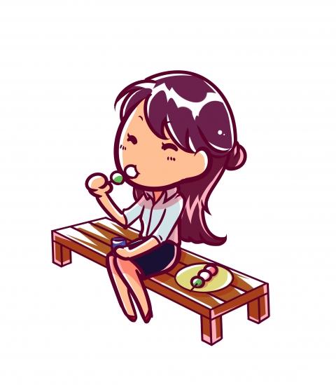 お団子を食べている女性のイラス 無料イラストのimt 商用ok加工ok