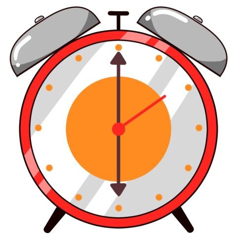 目覚まし時計が6時をさしているイラスト 無料イラストのimt 商用ok