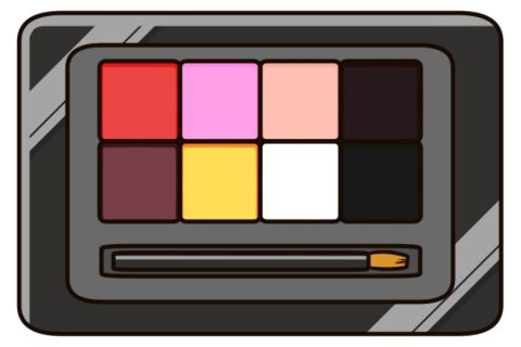 アイシャドウ8色が入ったダークグレーのパレットのイラスト 無料