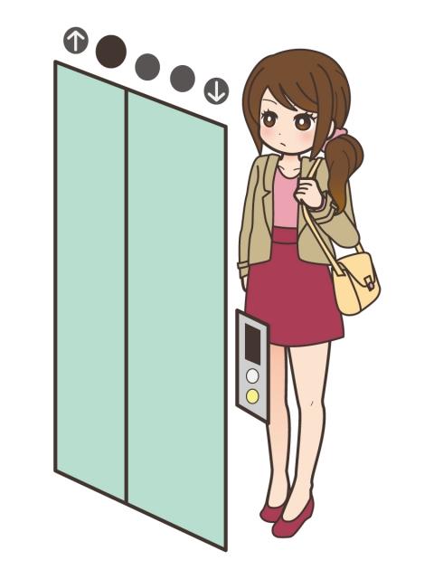 エレベーターを待つミニスカートの女性のイラスト 無料イラストのimt
