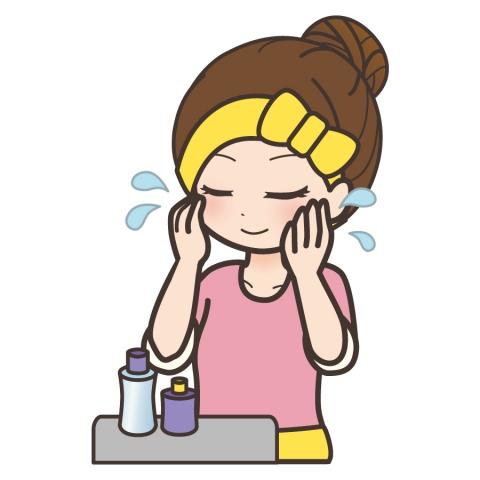 化粧水をつけて目を閉じている女性のイラスト 無料イラストのimt 商用