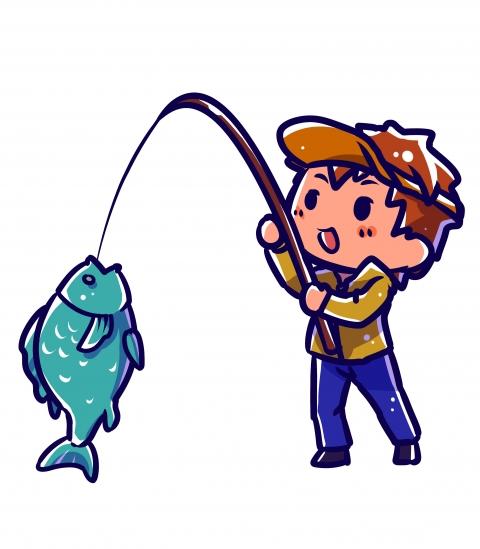 魚を釣っている男性のイラスト 無料イラストのimt 商用ok加工ok
