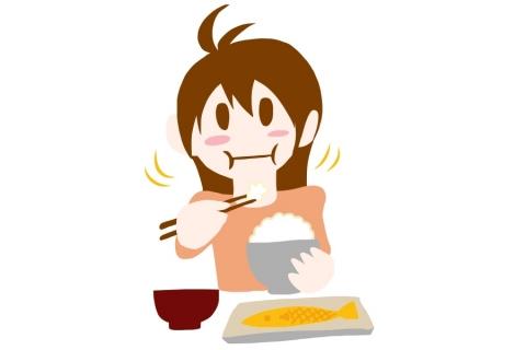 お米をもぐもぐ食べている女性のイラスト 無料イラストのimt 商用ok