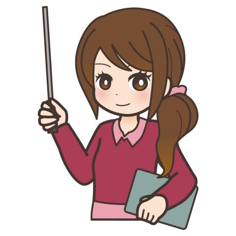 指し棒を持っている学校の女先生のイラスト 無料イラストのimt 商用ok