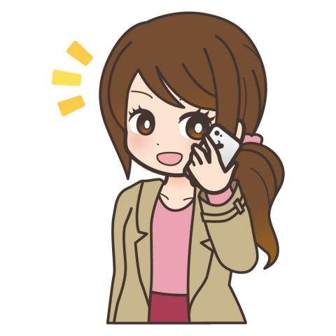 携帯電話で会話している女性の笑っているイラスト 無料イラストのimt