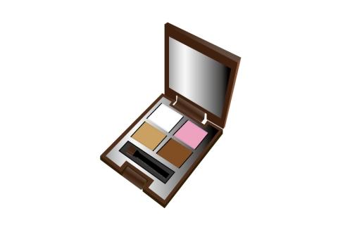 アイシャドウ4色入りのミラー付コンパクトのイラスト 無料イラストの