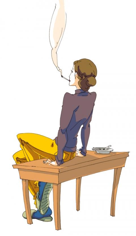 カッコイイできる女性がたばこを吸っている後姿のイラスト 無料