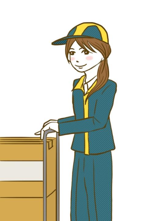 運送屋さんで働く制服を着た女性のイラスト 運送屋さんで働く制服を着た女性のイラスト - 無料イラ
