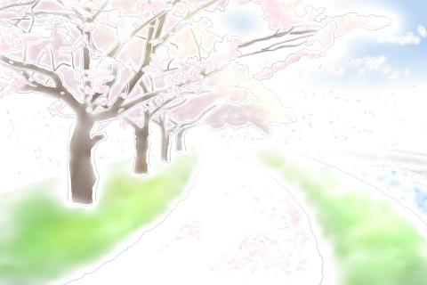 桜並木と青空のイラスト 無料イラストのimt 商用ok加工ok