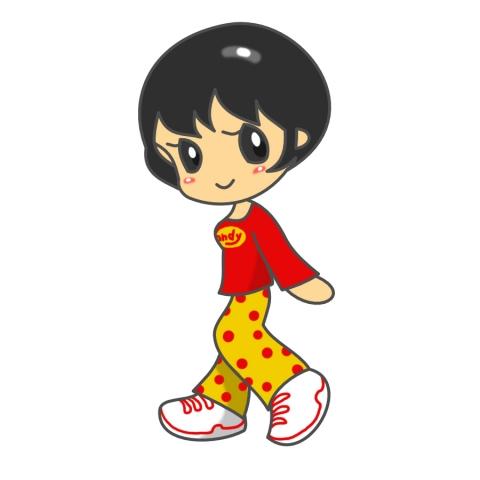 赤シャツ黄のズボン姿のショートカットの女の子のイラスト 無料