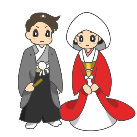 結婚式の新郎新婦(和装)