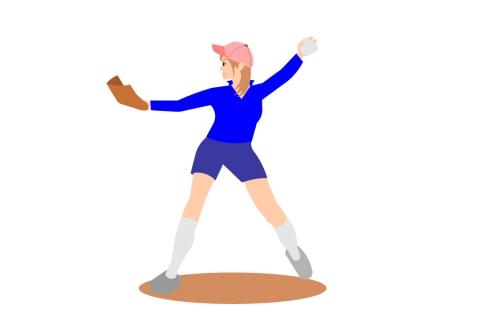 ソフトボールをしている女性のイラスト 無料イラストのimt 商用ok加工ok
