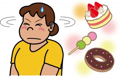 お菓子を我慢している女性のイラスト - 無料イラストのIMT 商用OK、加工OK
