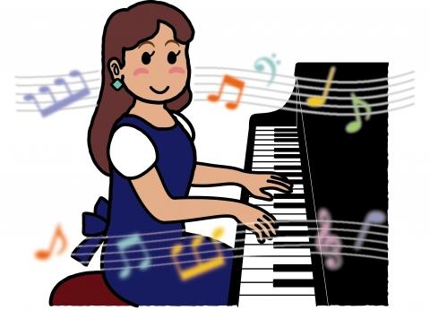 ピアノを弾いている女性の楽しそうなイラスト 無料イラストのimt 商用