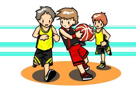 バスケット部の対抗試合の男子のイラスト 無料イラストのimt 商用ok