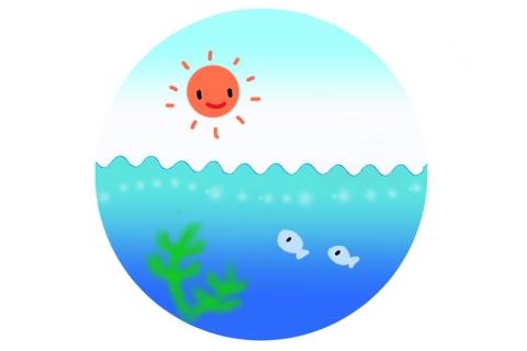 太陽と海の中を泳ぐお魚のイラスト 無料イラストのimt 商用ok加工ok