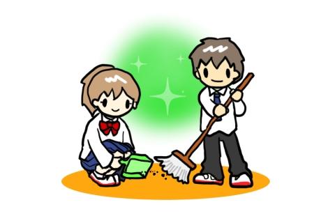 学校で掃除する生徒のイラスト 無料イラストのimt 商用ok加工ok