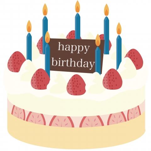 誕生日ケーキに青いろうそくが立ってるイラスト 無料イラストのimt