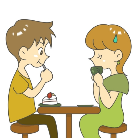 デート中も食事を我慢する女性のイラスト - 無料イラストのIMT 商用OK ...