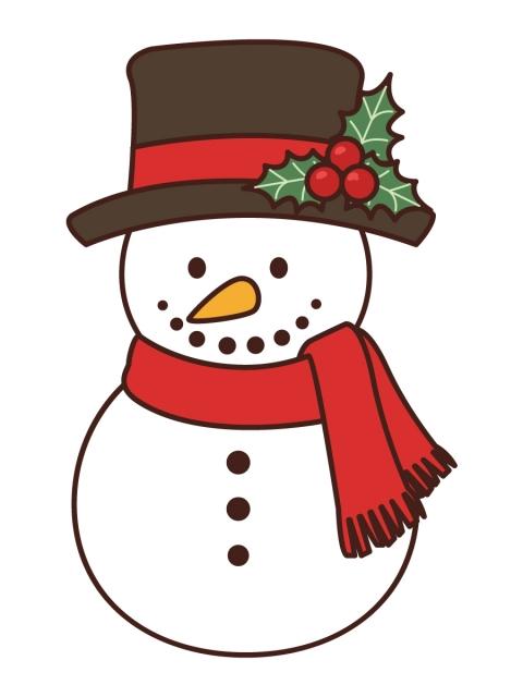 飾りのついたシルクハット姿の雪だるまのイラスト 無料イラストのimt