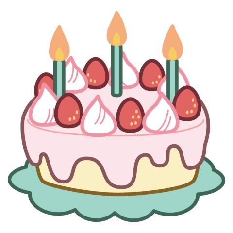 ろうそく立てた誕生日のイチゴのケーキのイラスト 無料イラストのimt