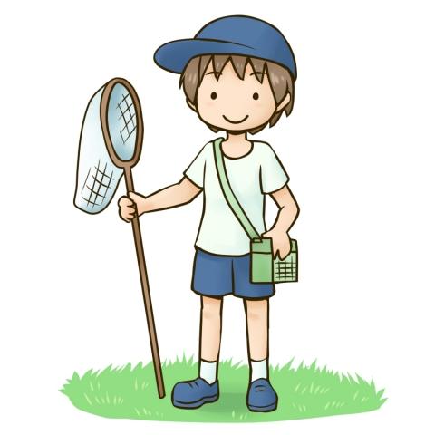虫取りに行く子供がアミを持ったイラスト 無料イラストのimt 商用ok