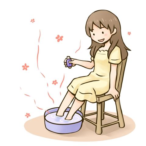 アロマの足浴をする女性のイラス
