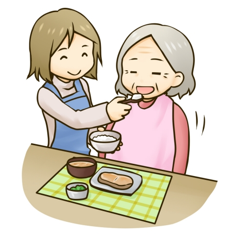 食事の介護を受けるおばあさんのイラスト 無料イラストのimt 商用ok