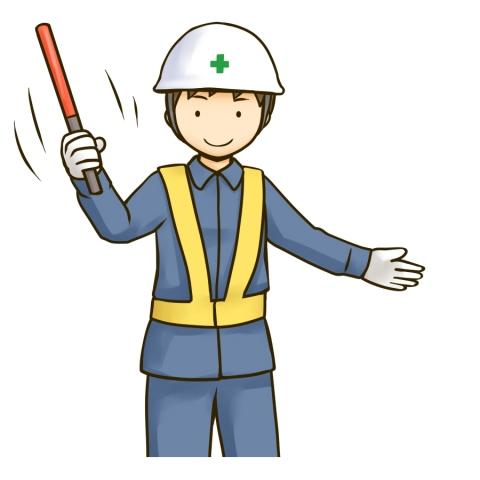 誘導棒を使う交通整理員のイラスト - 無料イラストのIMT 商用OK、加工OK