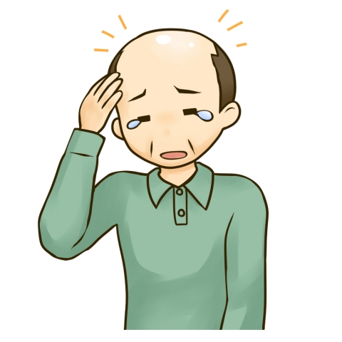 薄毛にショックを受ける中年男性のイラスト 無料イラストのimt 商用ok