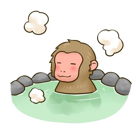 温泉に入る猿のイラスト 無料イラストのimt 商用ok加工ok