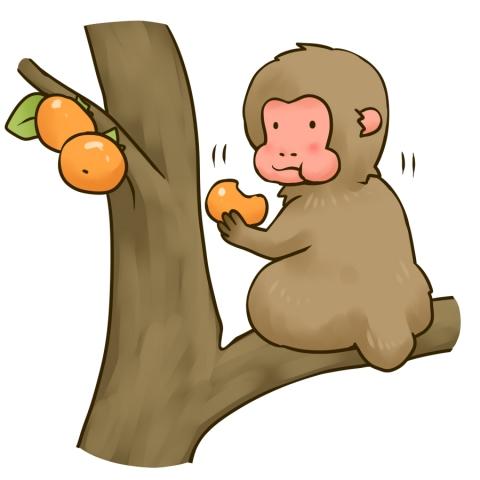 柿を食べる猿のイラスト 無料イラストのimt 商用ok加工ok