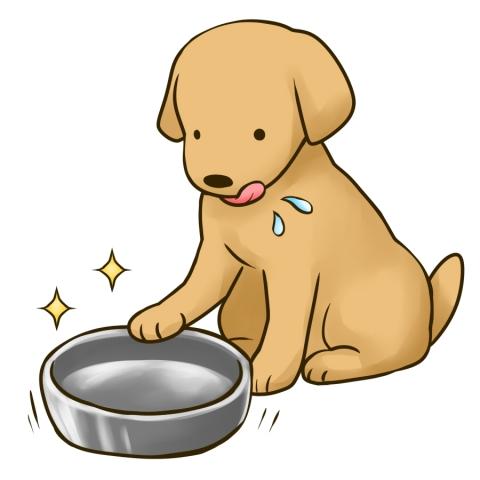 エサをきれいに食べ終えた犬のイラスト