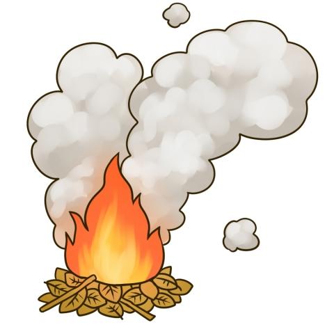たき火から大量の煙が上がっているイラスト 無料イラストのimt 商用ok