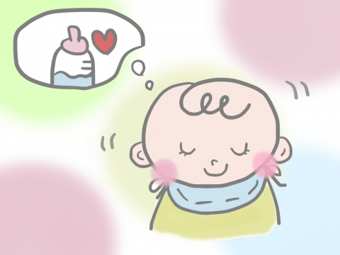 ミルクのことを考えている様子の赤ちゃんのイラスト 無料イラストのimt