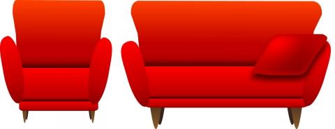 赤いソファのイラスト