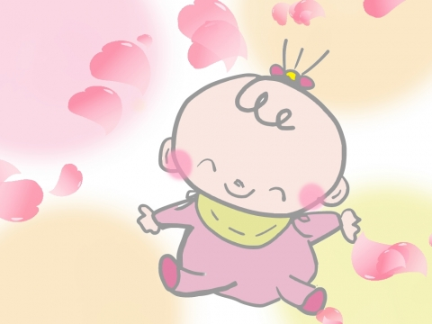 女の赤ちゃんが笑っている様子のイラスト 無料イラストのimt 商用ok